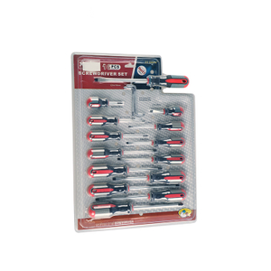 16Pc Three Colour Handle Screwdriver Set Tool Kit With Blister Pack